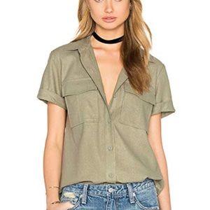 Frame Denim Le Military Button Up Silk shirt